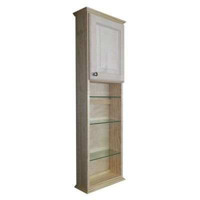 Wg Wood Greenwood 15 5w X 49 5h In Surface Mount Medicine Cabinet With 30 In Open Shelf Green 448 Glass Shelves Glass Shelves Kitchen