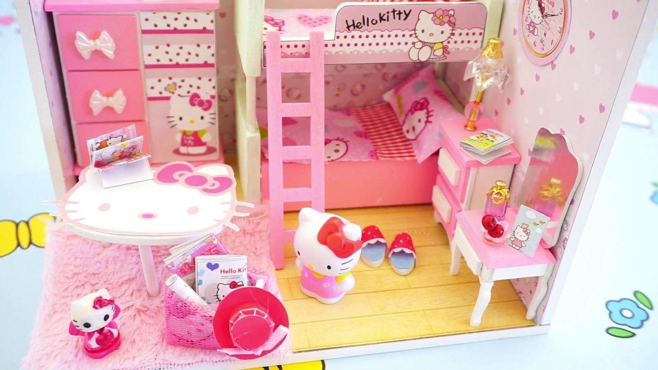 Diy Bedroom Miniature Dollhouse Bunk Bed Tia Tia Diy Doll Doll House Hello Kitty Bedroom