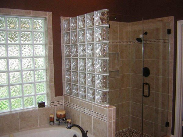 Glass Block Wall Bath Ideals Brick Bathroom Glass