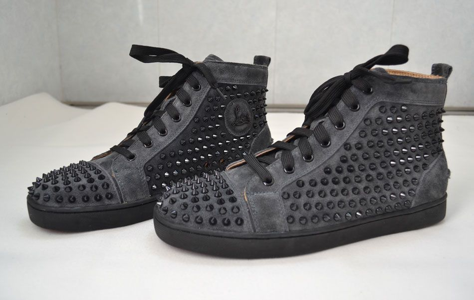 Christian Louboutin suede dark grey black spiked sneaker