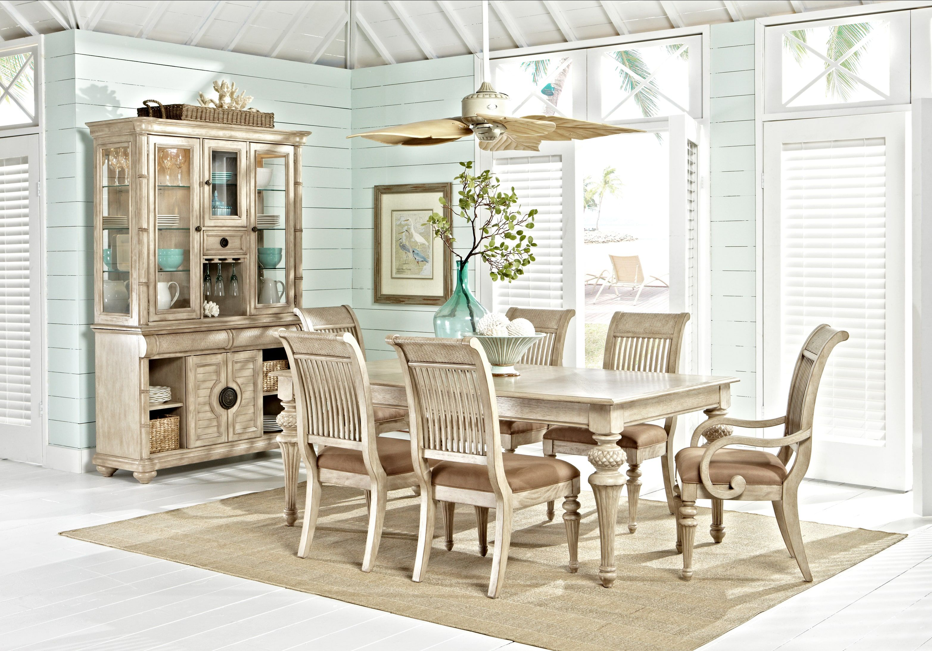 cindy crawford home key west sand 5 pc rectangle dining on rooms to go dining room furniture id=53526