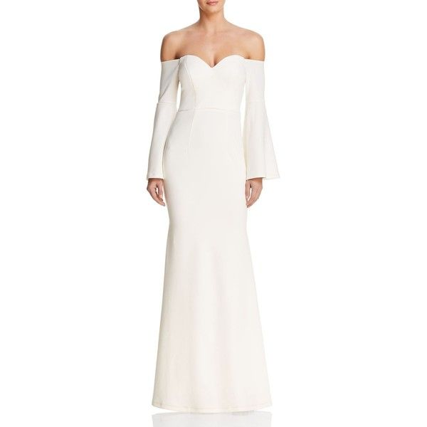 Bariano Off-the-Shoulder Cutout Gown ($298) ❤ liked on Polyvore ...