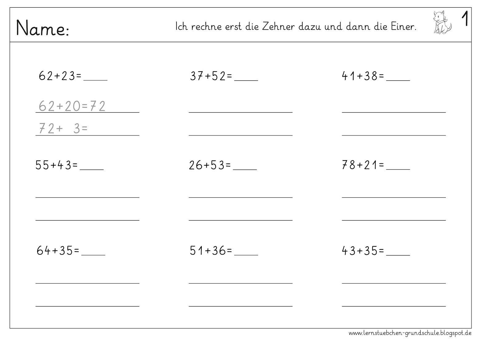 Lernstübchen: Addieren mit zweistelligen Zahlen ohne Ü | Schule ...