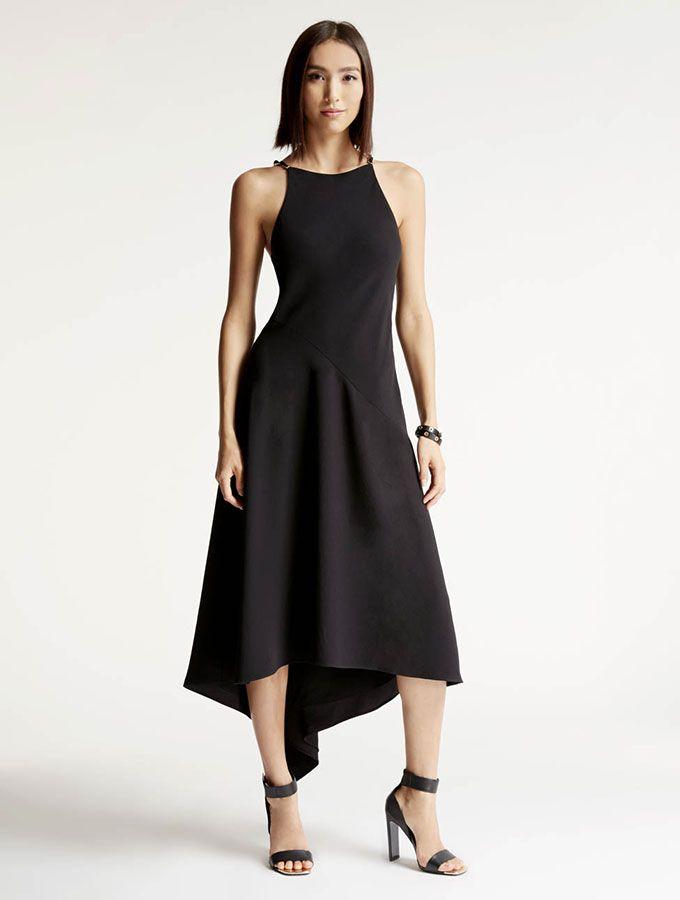 Halston - Asymmetric Crepe Dress