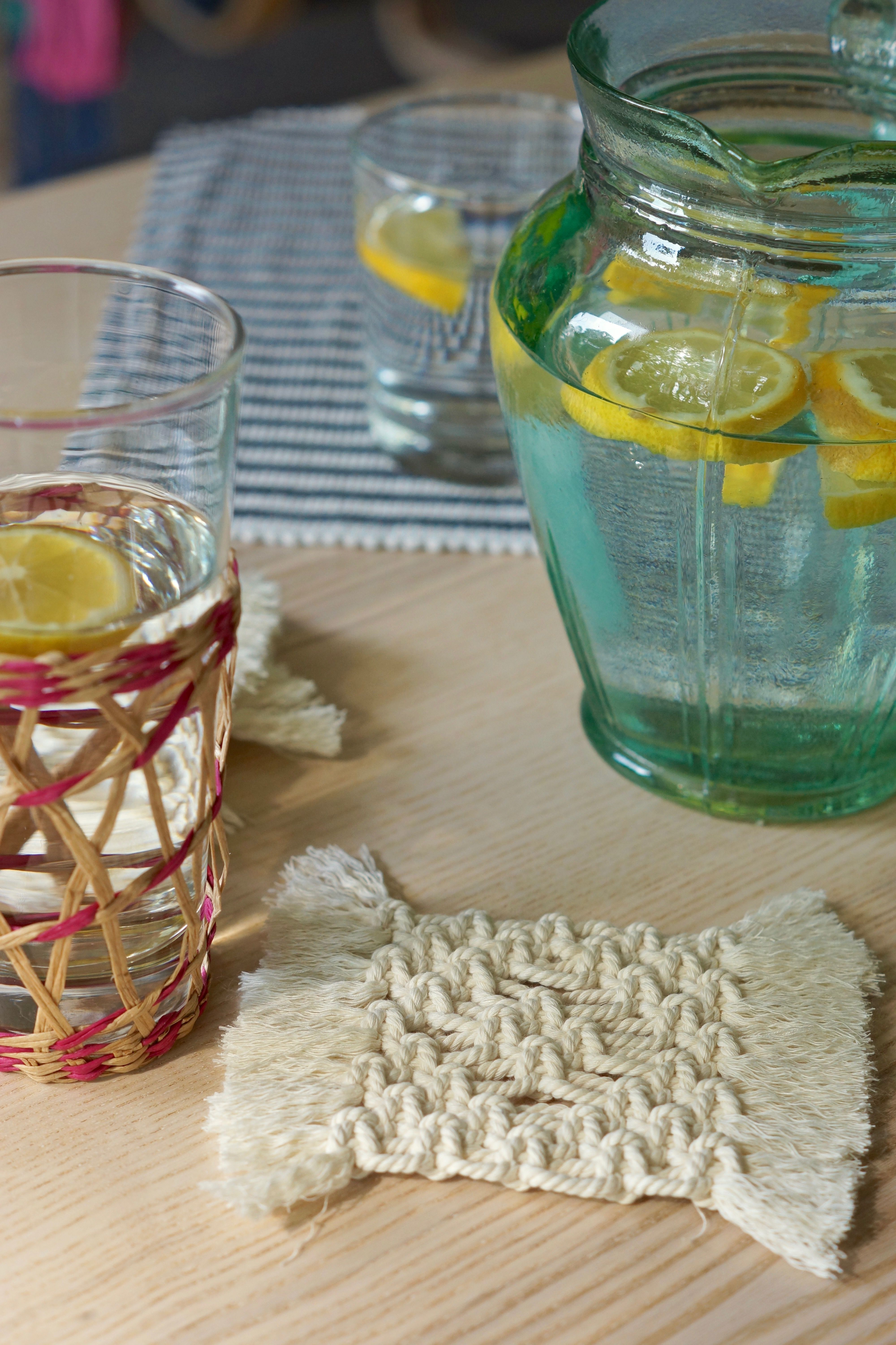 Detox water Boho summer vibes with macrame coasters from
