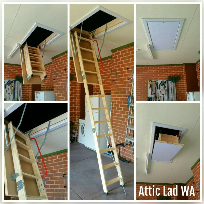 Quality wooden attic ladder installed in to a garage. All my attic ladders come with a safety handrail for a safe and easy access to the attic storage area. & Quality wooden attic ladder installed in to a garage. All my attic ...