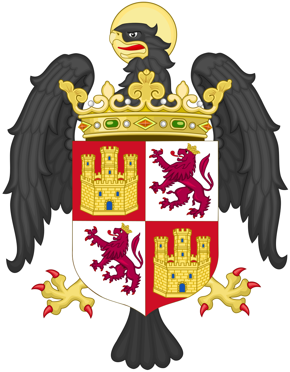 Coat Of Arms Of Isabella Of Castile As Princess Of Asturias With Crest Svg Coat Of Arms Isabella Of Castile Queen Isabella