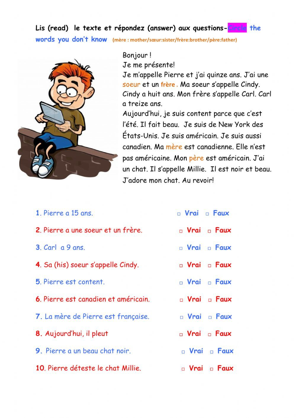 medium resolution of Les salutations online worksheet for Grade 7. You can do the exercises  online or downl…   French worksheets
