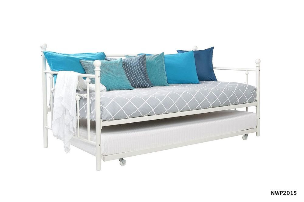 Bedroom Furniture Twin Bed Frame Daybed With Trundle White Metal ...