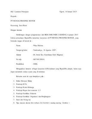 Contoh Surat Lamaran Kerja Honda Honda