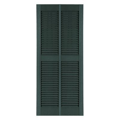 Perfect Shutters 25.75W in. Louvered Double Wide Straight Top Vinyl Shutters - 1412633001C001
