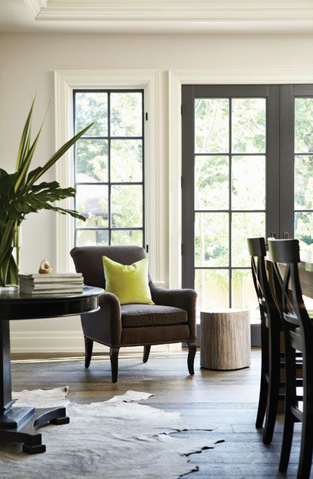 I Am Drawn To These Images Of Black Interior Doors I Love How Grounding They Are Within Neutral Dec Interior Windows Interior Window Trim Black Window Frames