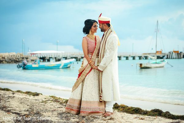 Indian Bride and Groom Beachside Portrait http://www.maharaniweddings.com/gallery/photo/83800