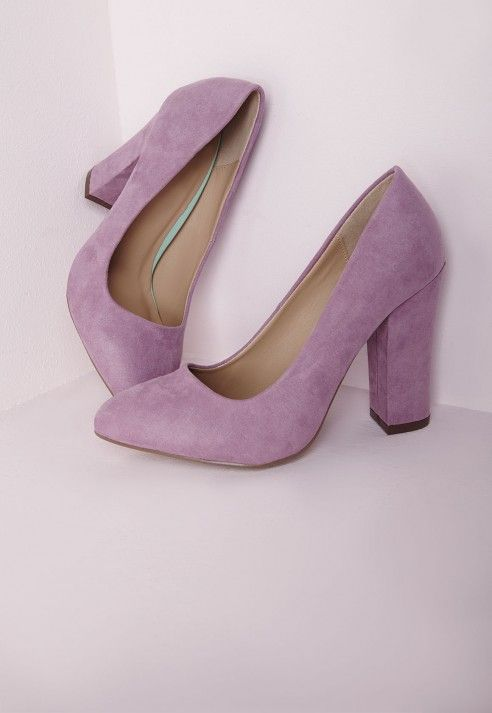b9beceb08c1b Block Heel Court Shoes Lilac - Shoes - High Heels - Missguided ...