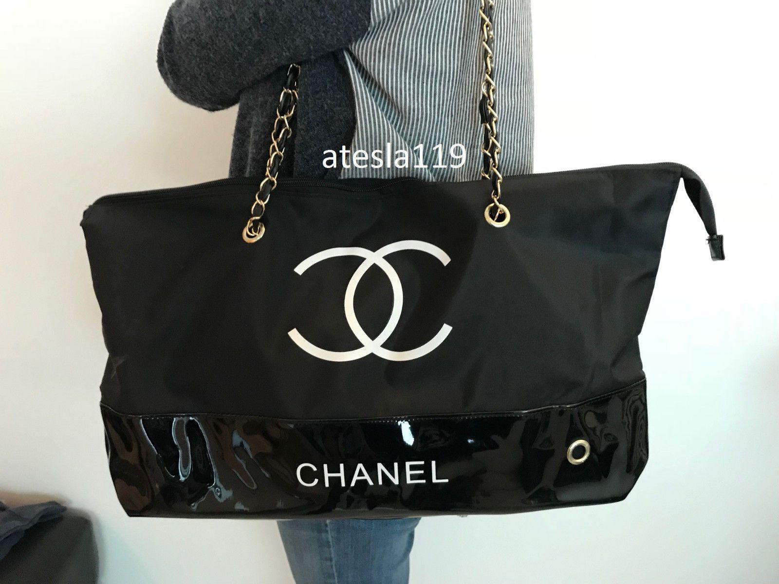 38fde1dc290eb1 Chanel VIP Gift Black Nylon Tote Bag Shopping Travel Shopper Leather Gold  Chain
