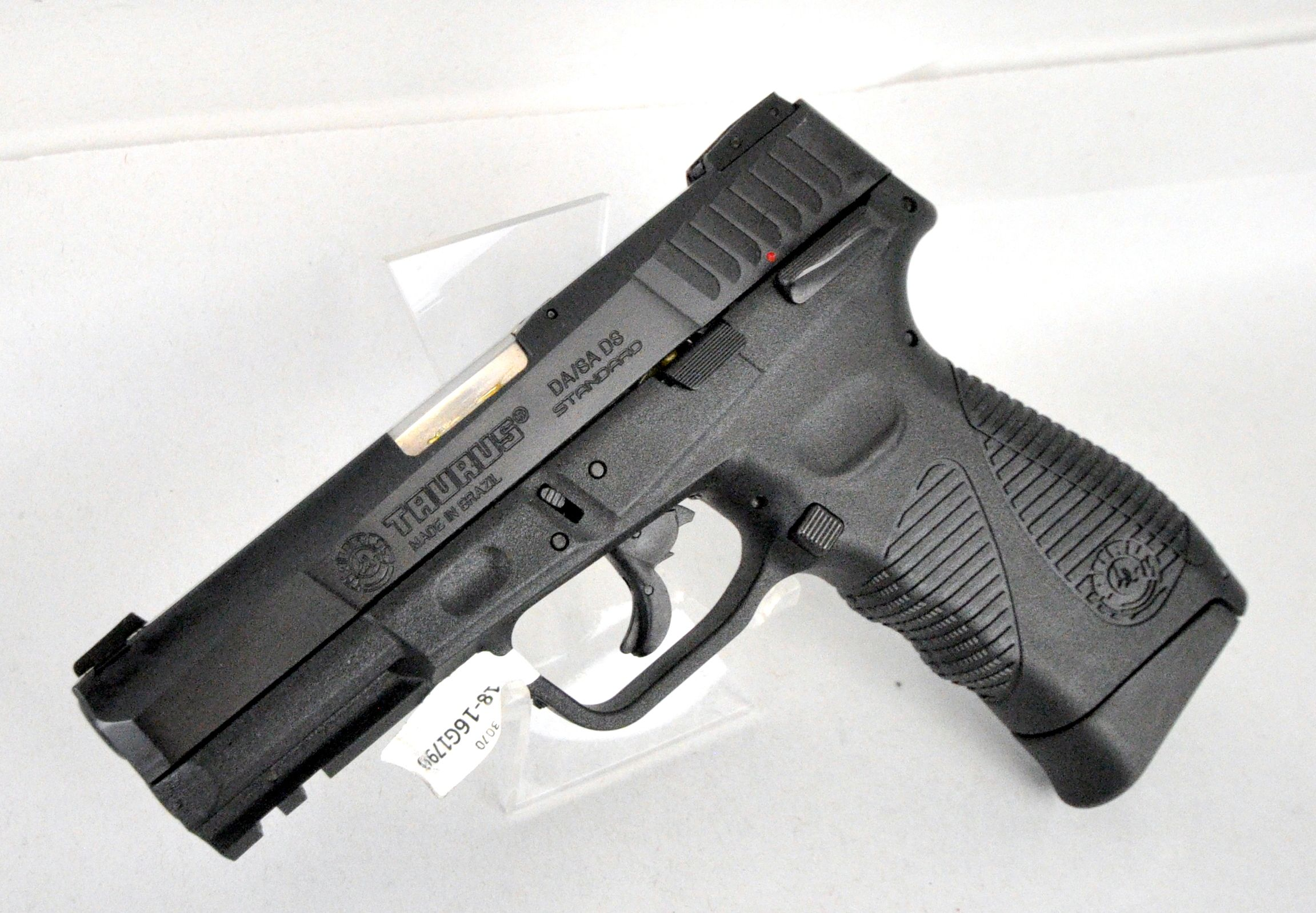 "Taurus PT24/7 G2 Standard 9mm. 1-247091G2-17. A full-sized SA/DA pistol. It offers the best of Taurus, combining features from the Taurus 800 Series, 24/7 Series and 24/7 OSS. Features include ""Strike Two"" capability for incredible reliability, contoured thumb rests, a new trigger safety and balanced spring pressure for extraordinarily fast shooting. 3-dot sights w/ adj rear. Blued slide with polymer grip. 17+1 capacity of 9mm. 4.2"" barrel. 28 oz. [New in Box] $449.99"