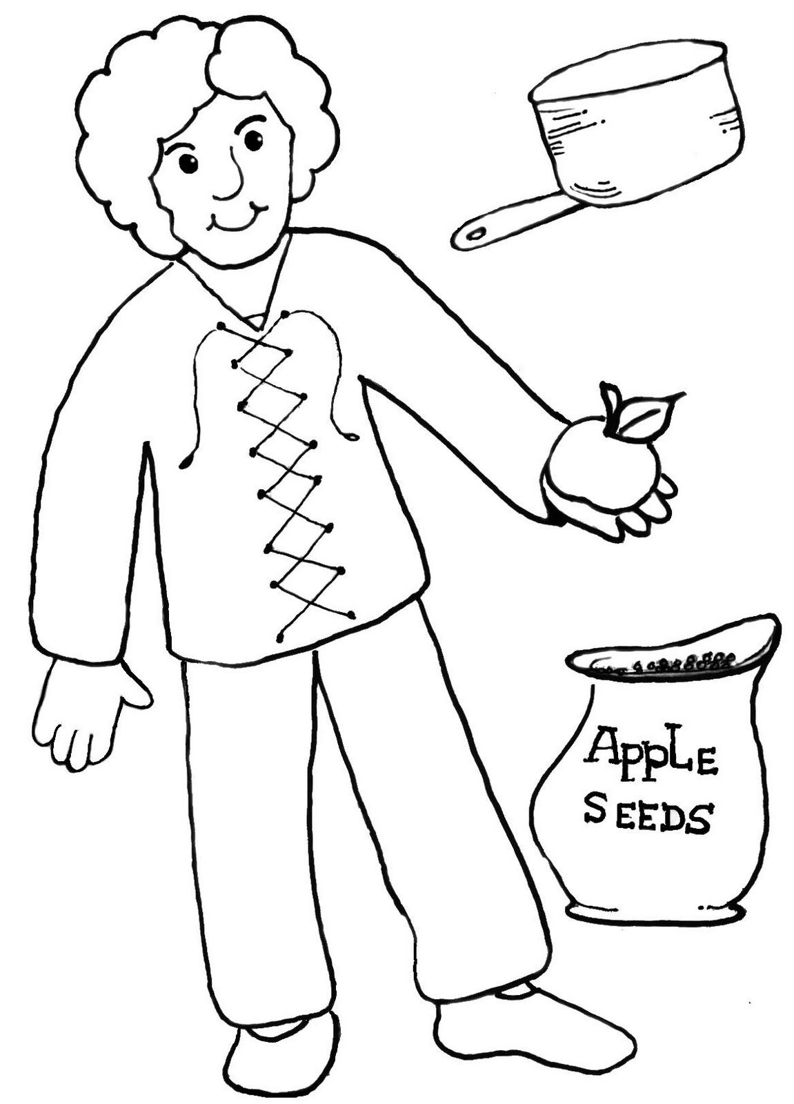 johnny appleseed color pages printable pages | Homeschool 4 Free ...