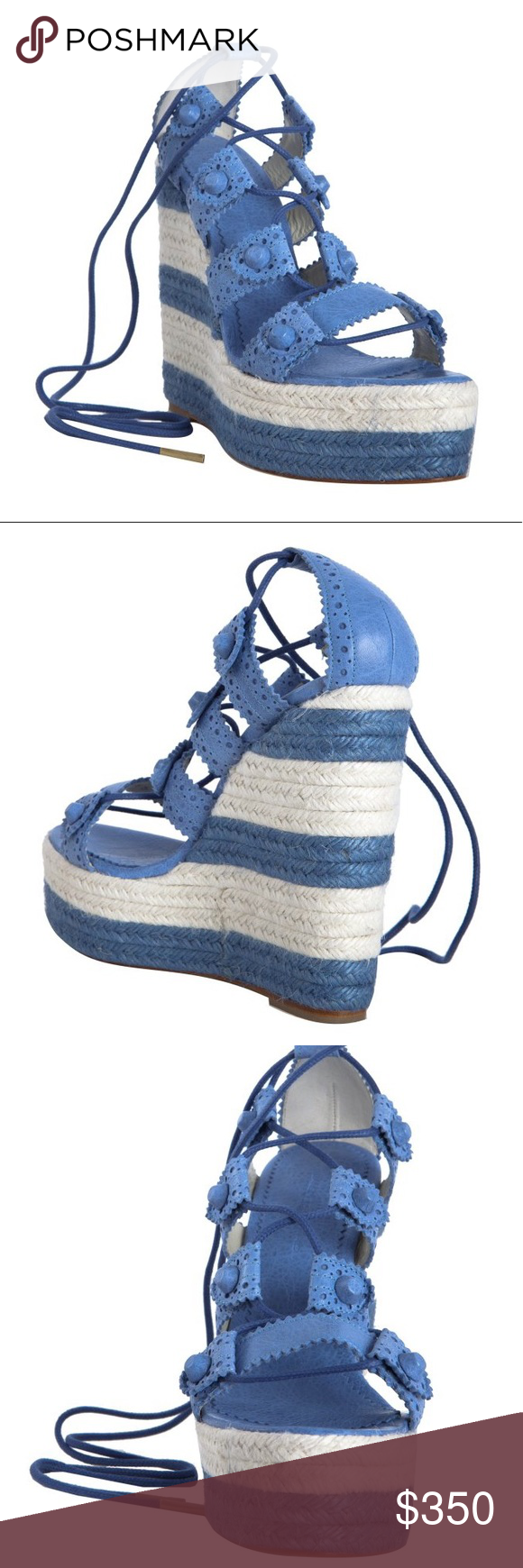 b51ac5be236 Balenciaga Cloud Leather Lace Up Espadrilles Wedge Size 39. Wear on  hardware and sole. Still in good condition. Comment for pictures.