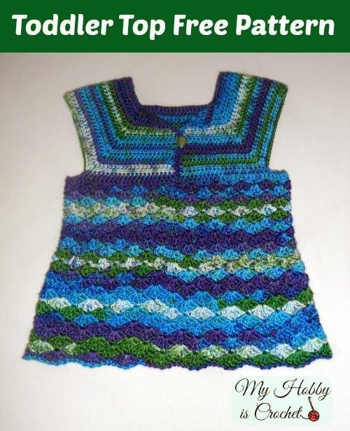Iris Toddler Top - Free Crochet Pattern   Tejido, Vestidos niña y Bebe