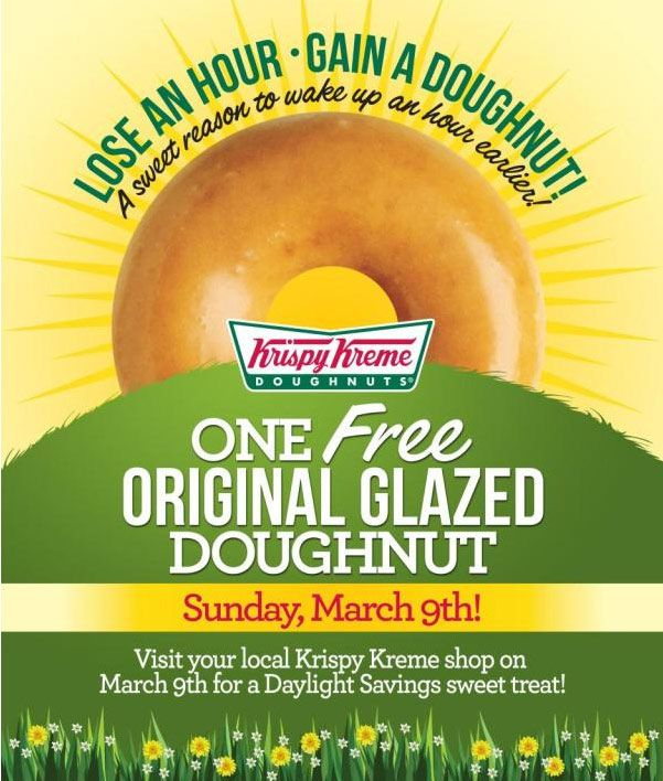Pinned March 3rd Glazed doughnut free Sunday at Krispy