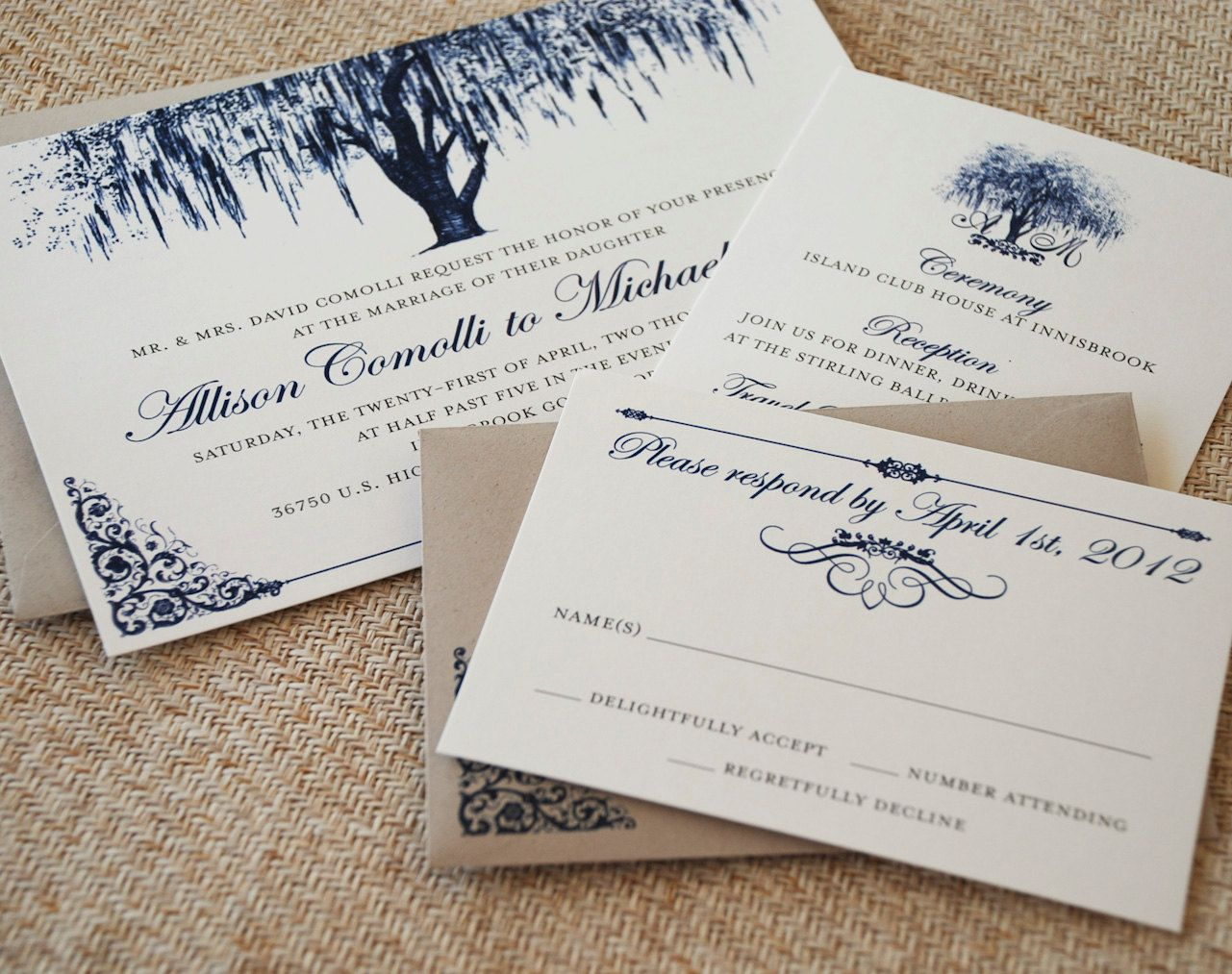 Oak Tree with Filigree Details Wedding Invitation (Vintage Blue ...