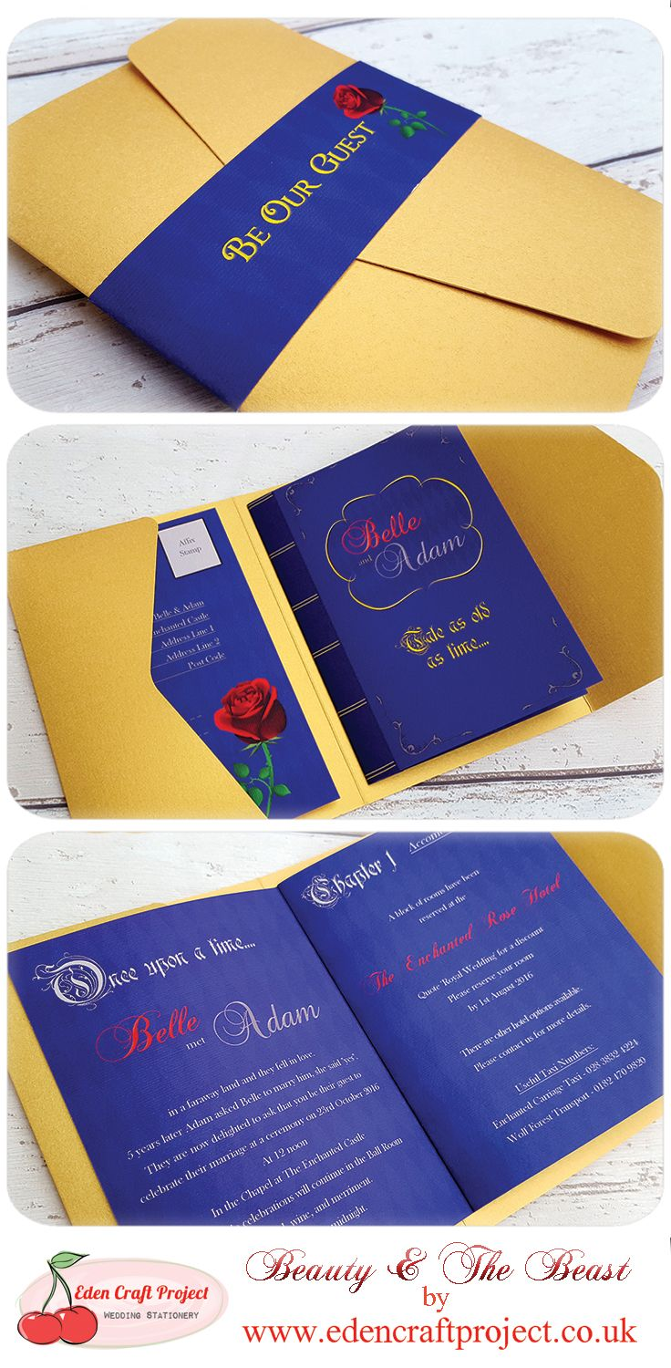 The Disney Inspired Beauty And The Beast Pocketfold Wedding Invitation With The Unique Inner
