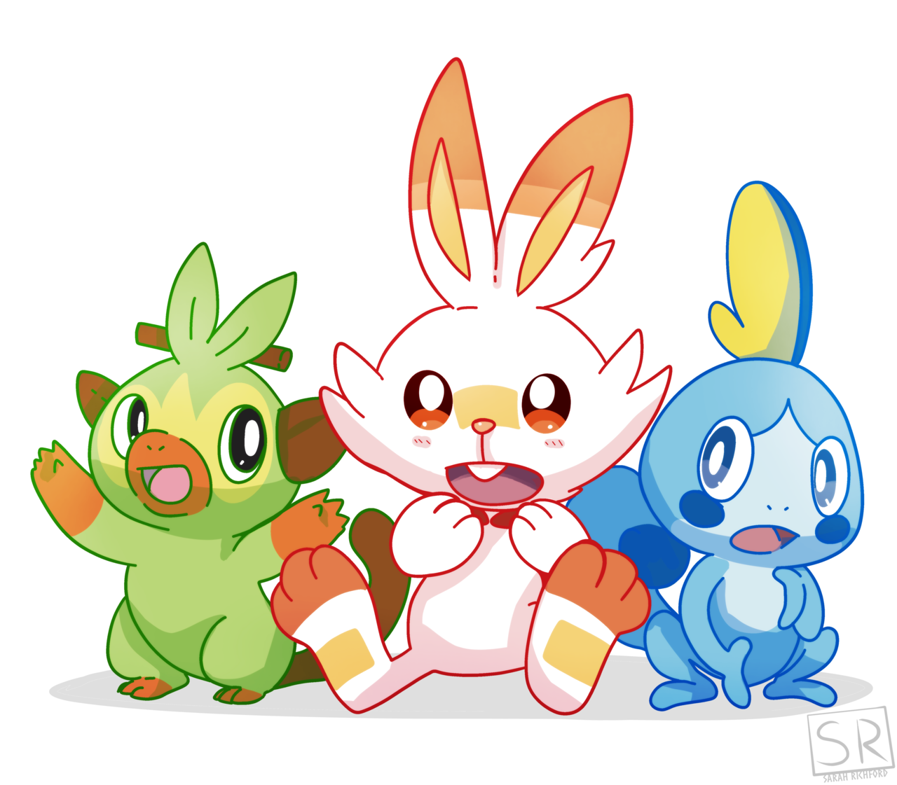 Aah I Love The New Starters Who Do You Like Best Rushed Quick Art And I Will Definitely Draw More Art Of These Cute G Pokemon Shield Drawing Pokemon Starters