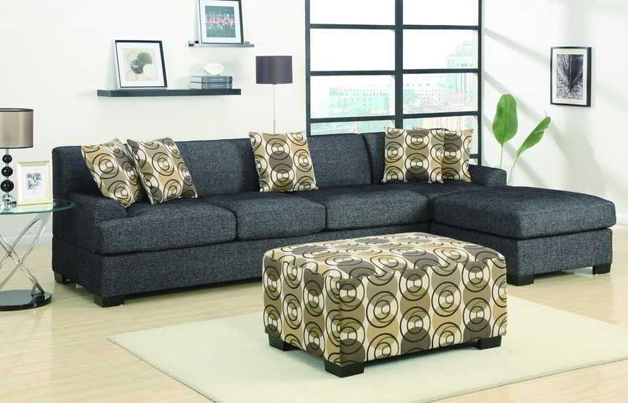 POUNDEX Furniture Montreal Ash Black Sectional Sofa F7448F7450