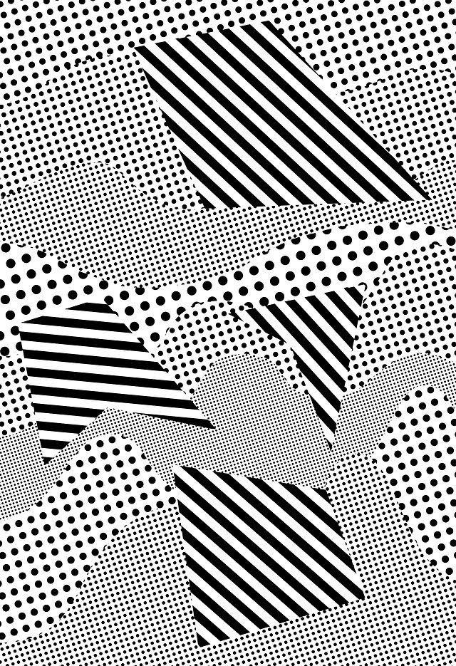 Géométrique, noir, blanc