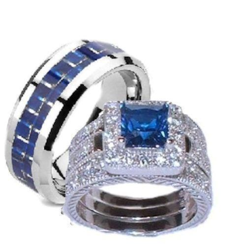 His Hers 4 Pc Sapphire Blue Clear Cz Wedding Ring Set Sterling