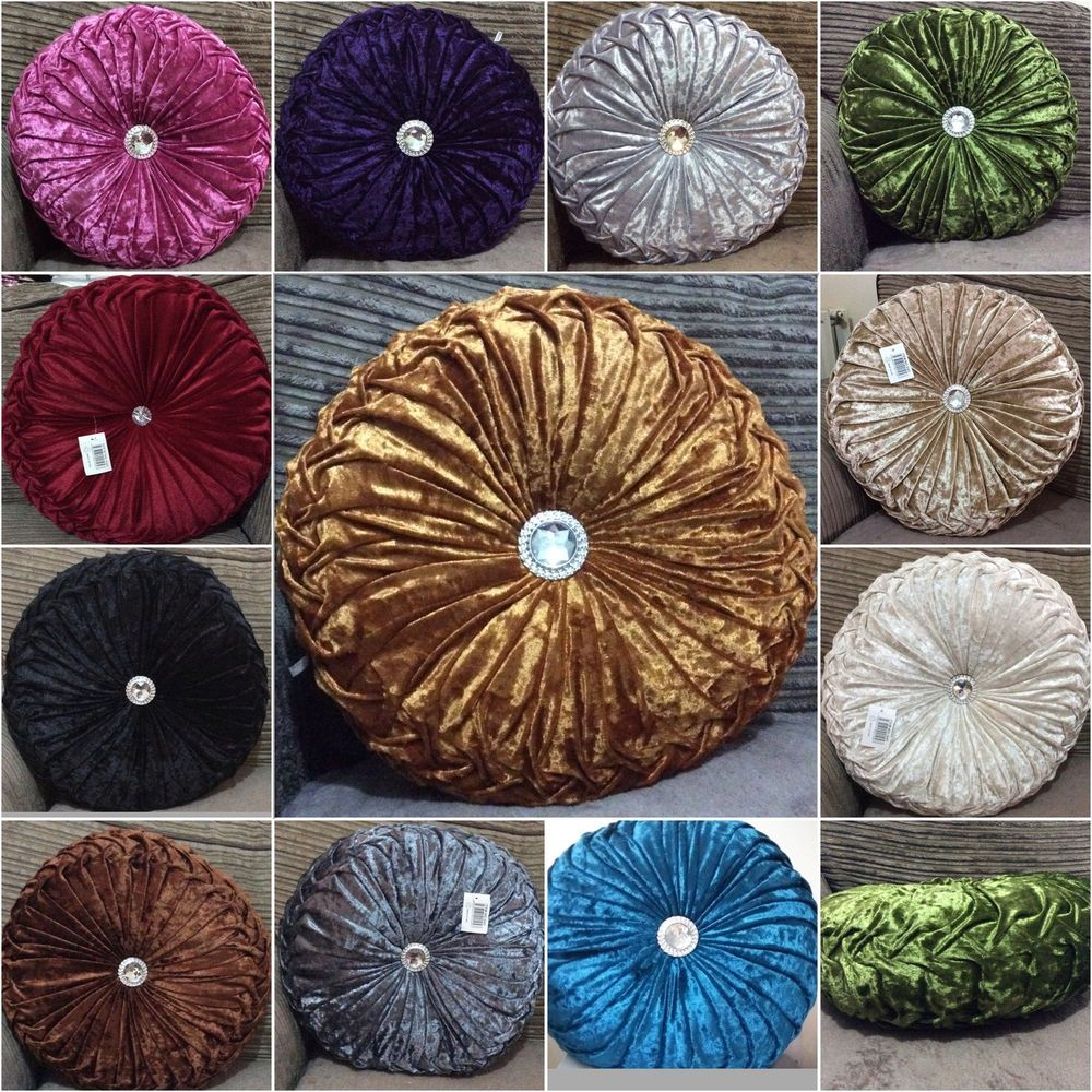 """Details about Cushion Crush Velvet Filled Round Pillows Diamante Chic Filled scatter 15""""20""""22'"""