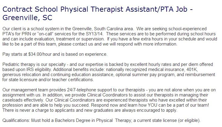 Contract School Physical Therapist Assistant Pta Job Greenville
