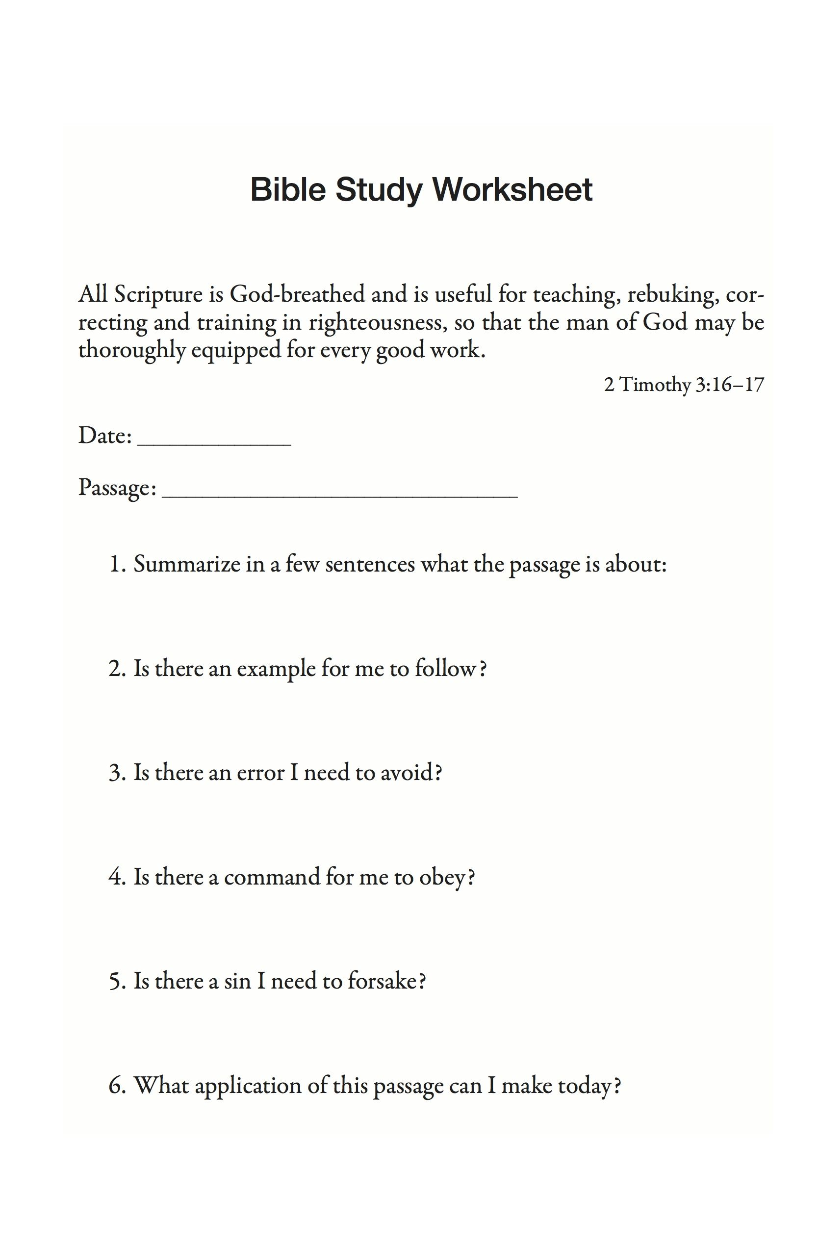 Bible study worksheet | Forms for Download