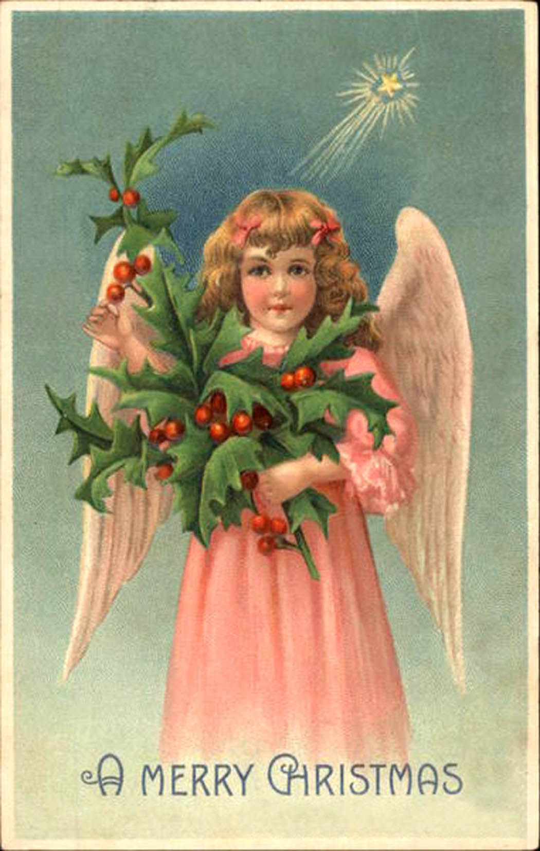 Card of an angel girl in pink dress holding a holly branch