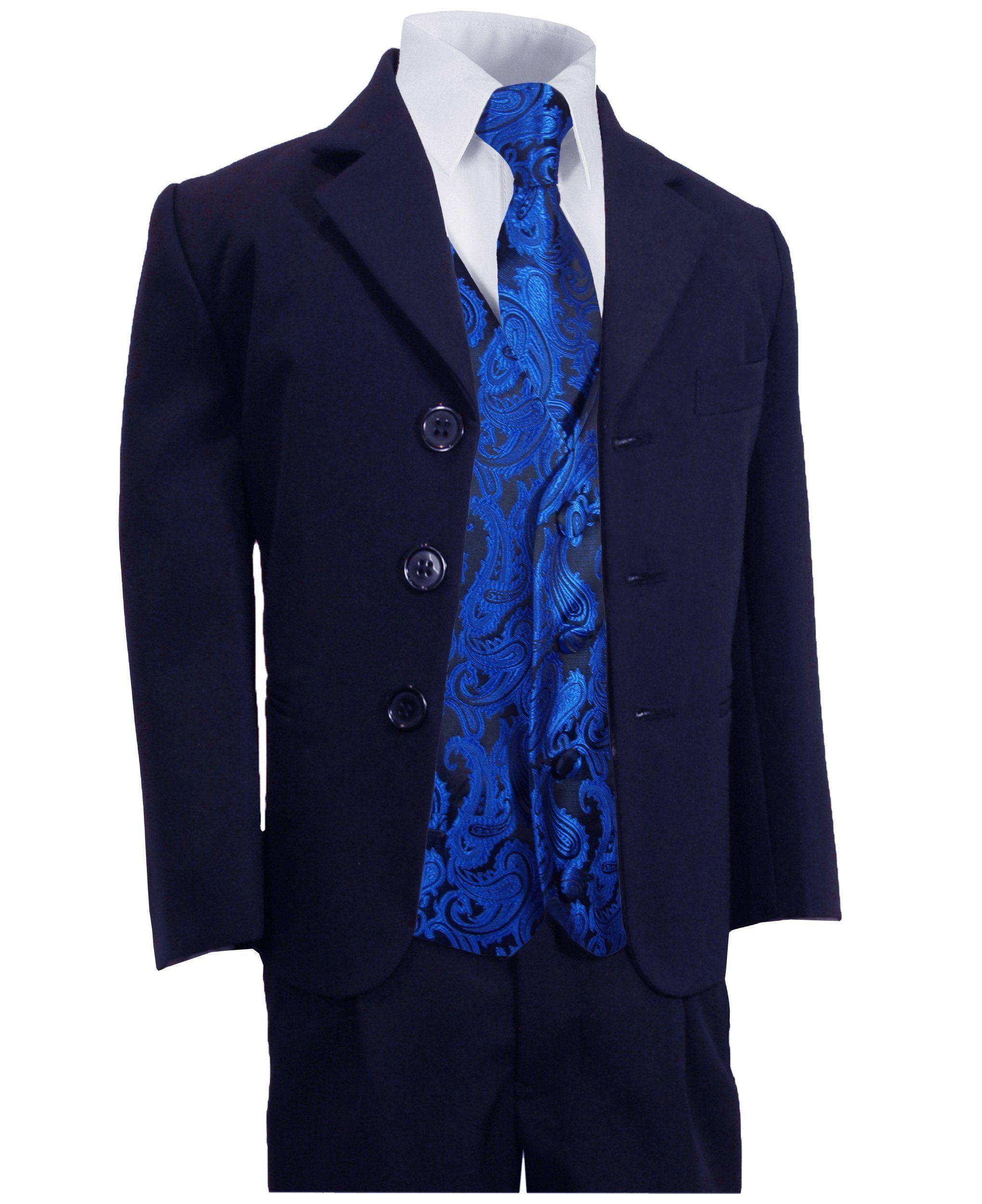 Navy Blue Boys Suit With Royal Blue Paisley Tuxedo Vest Set Kinder Anzug Anzug Anzug Jungen