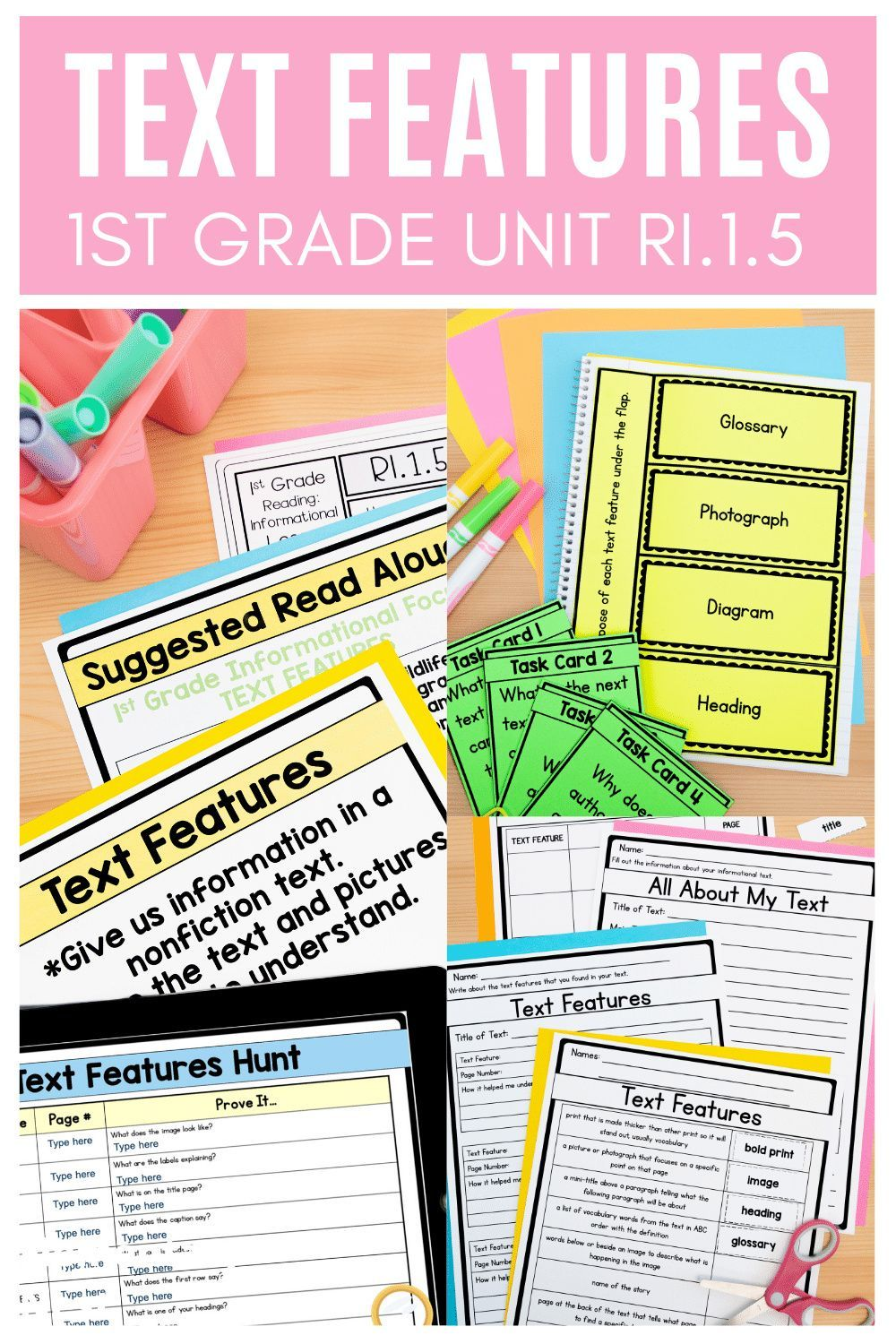 Nonfiction Text Features 1st Grade Ri1 5 With Digital Distance Learning Links Nonfiction Texts Teaching Common Core Nonfiction Text Features