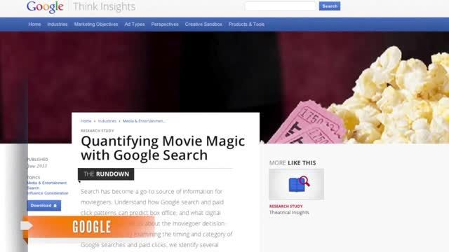 VIDEO: Google Can Predict Box Office Numbers Weeks Before - http://ontopofthenews.net/2013/06/07/entertainment/video-google-can-predict-box-office-numbers-weeks-before/