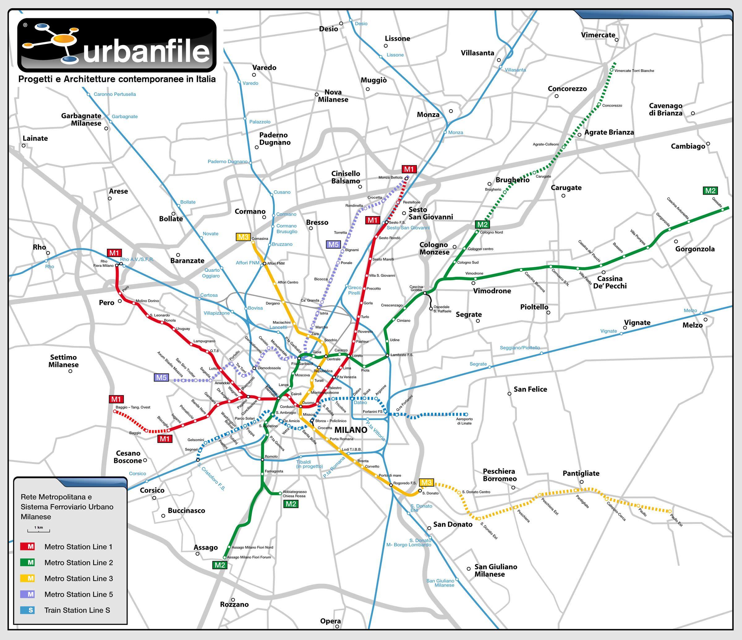 Geographical Map of Milan Metro