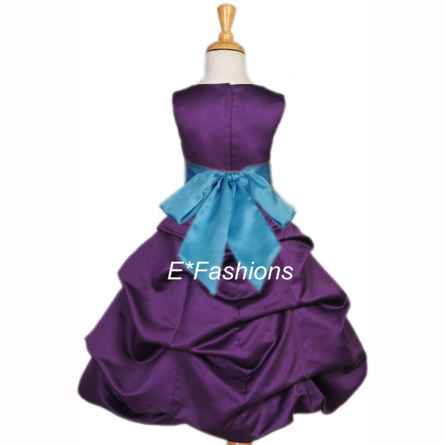 WEDDING PAGEANT PLUM PURPLE TURQUOISE BLUE FLOWER GIRL DRESS 2 4 6 8 ...