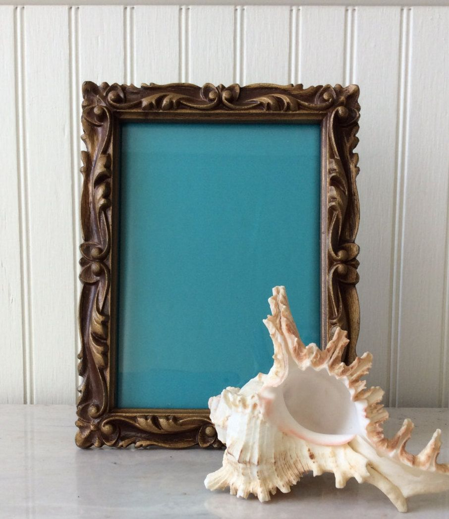Vintage Art Nouveau, Ornate, Aged Gold, 5 x 7 Picture Frame, Mid Century, Hollywood Regency Decor, Cottage Chic, Glam by YellowHouseDecor on Etsy https://www.etsy.com/listing/255941319/vintage-art-nouveau-ornate-aged-gold-5-x