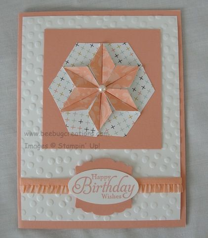 handmade birthday card .. Hexagon Punch Quilted Star ... great design ... luv the large dot embossing folder textuire ... cantaloupe and white ... Stampin'Up!