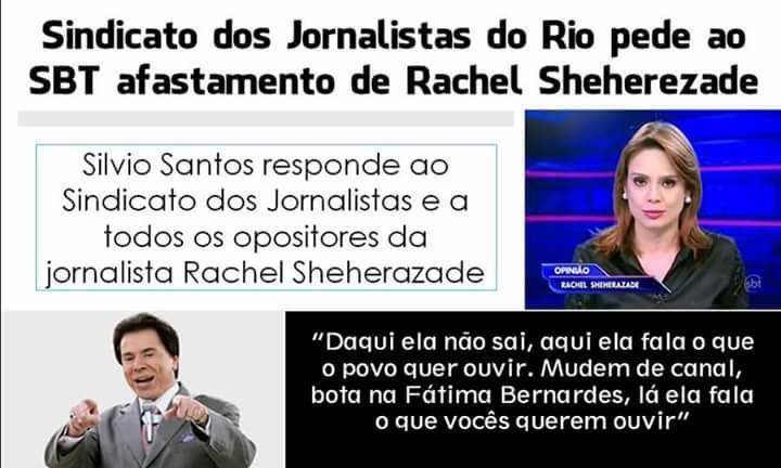 Silvio Santos defende pessoalmente a permanência de Rachel Sheherazade no SBT