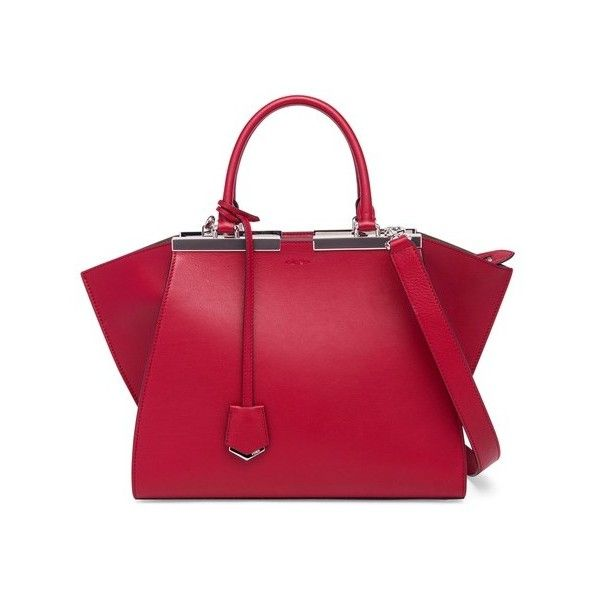 Fendi 3Jours Mini Leather Shopper ($2,200) ❤ liked on Polyvore featuring bags, handbags, satchels, silver, red purse, red satchel handbag, fendi purse, leather satchel handbags and red leather purse