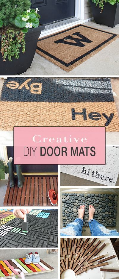 creative door mats you can make yourself make stuff pinterest basteln ideen und deko. Black Bedroom Furniture Sets. Home Design Ideas