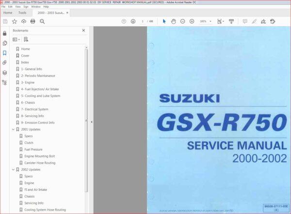 2000 2003 Suzuki Gsx R750 Gsxr750 Gsx R750 Diy Service Repair Manual Pdf Download In 2020 Repair Manuals Suzuki Gsx Gsx