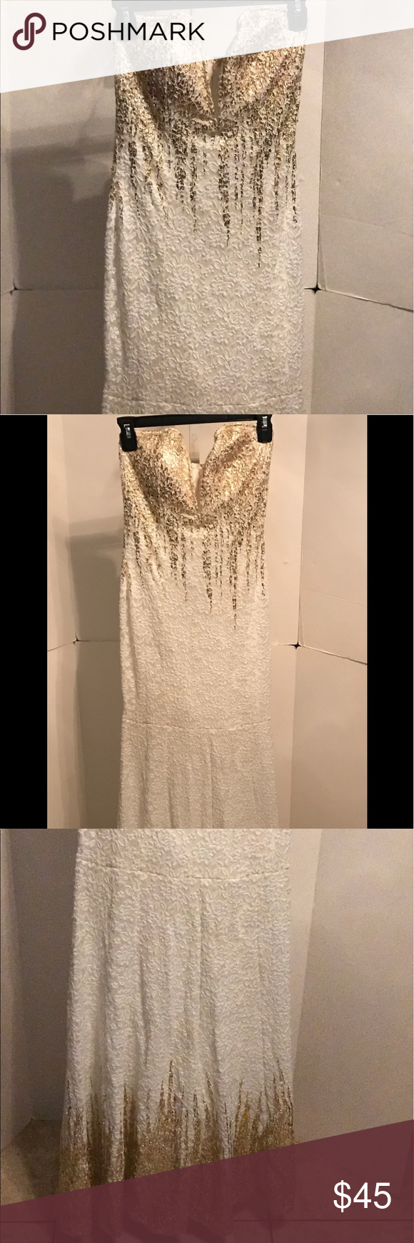 Strapless white and gold prom dressgown