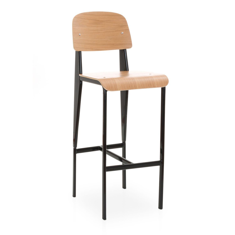 tabouret avec dossier inspir des cr ations de jean prouv fauteuil bureau standard pinterest. Black Bedroom Furniture Sets. Home Design Ideas