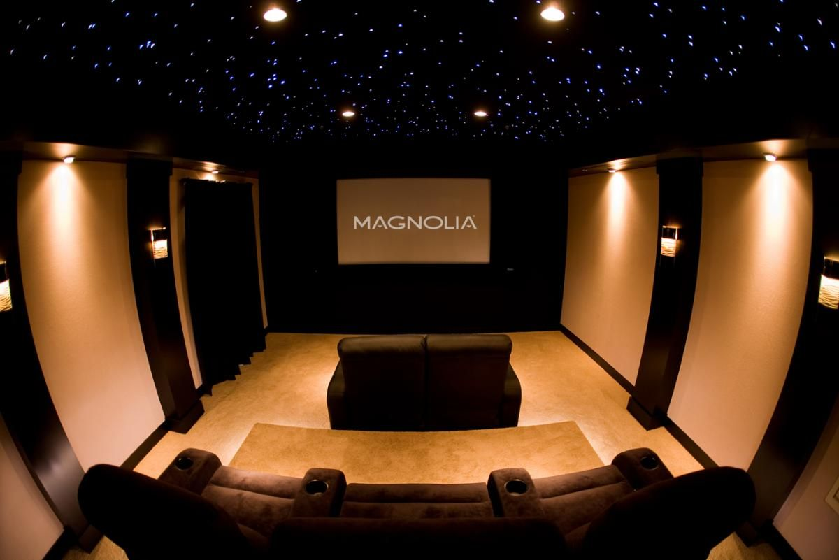 Fshionable Home Theater Design Idea With Brown Sofa, Brown Wall, And  Sparkling Star Light Accent Of Ceiling