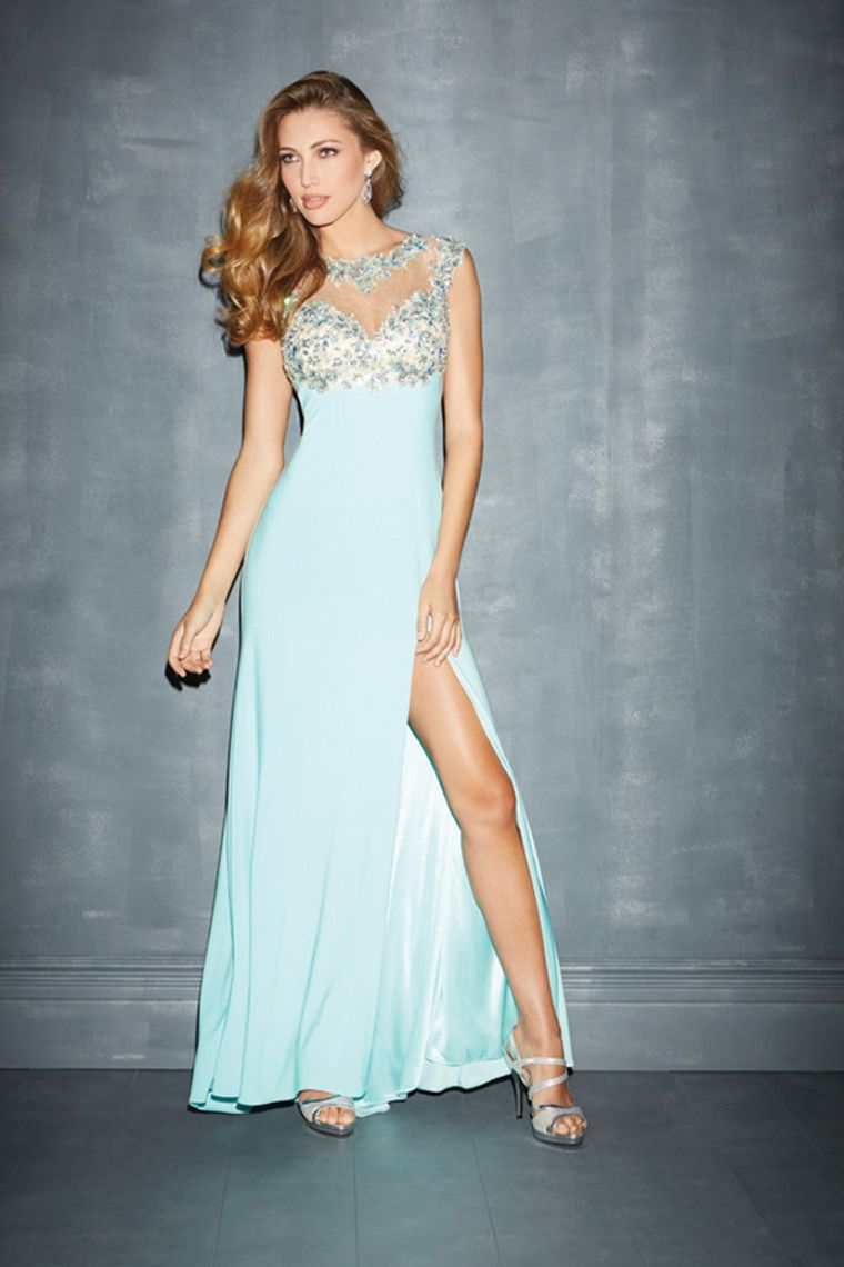 mesh illusion prom dresses scoop neckline sheath with