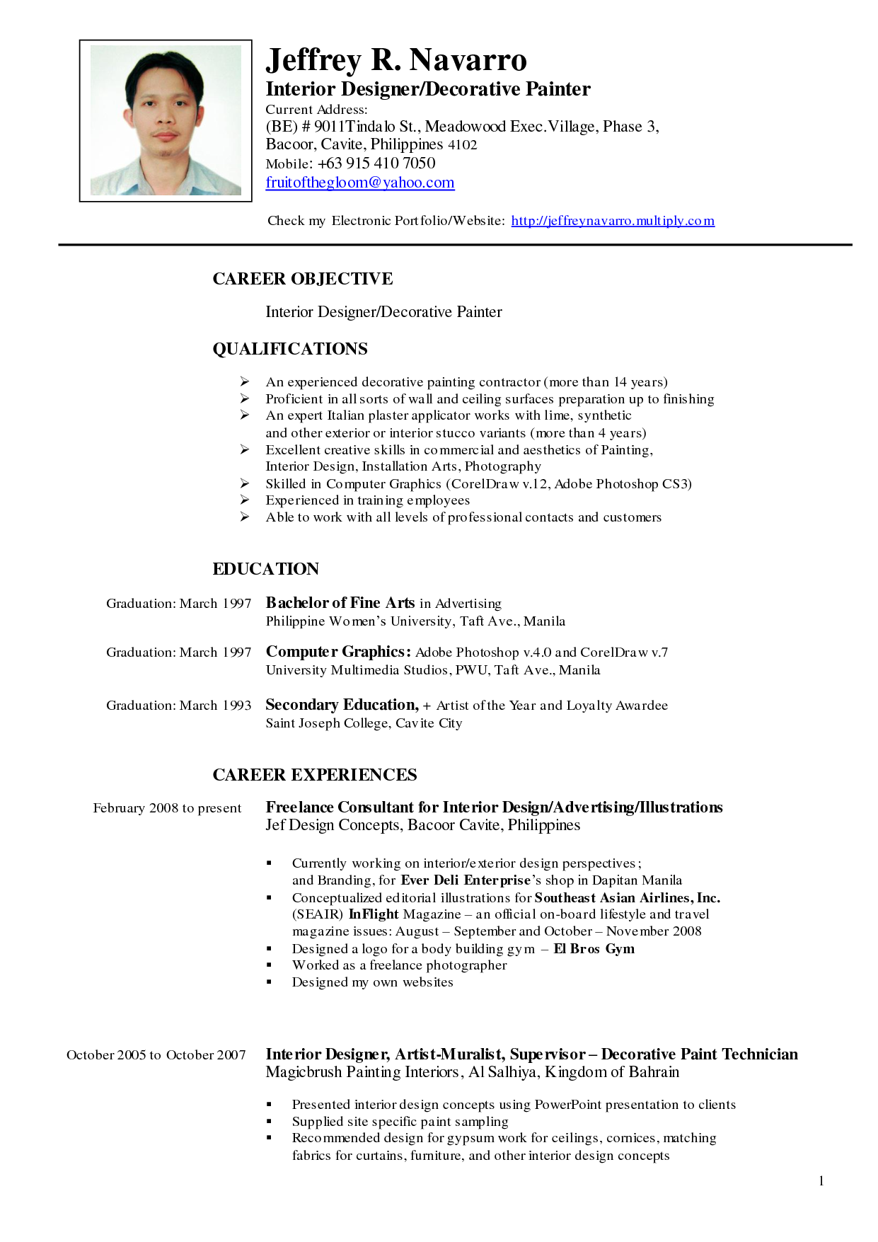 sample resume with picture philippines